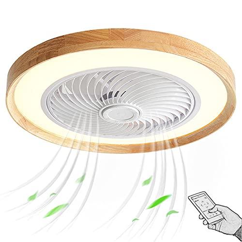 Madera Ventilador Techo con Luz y Mando a Distancia Silencioso Regulable Rustico Industrial Plafon de Ventilador Fan Lámpara Iluminación Luces LED para Salon Dormitorio Infantil Comedor 50cm 72W