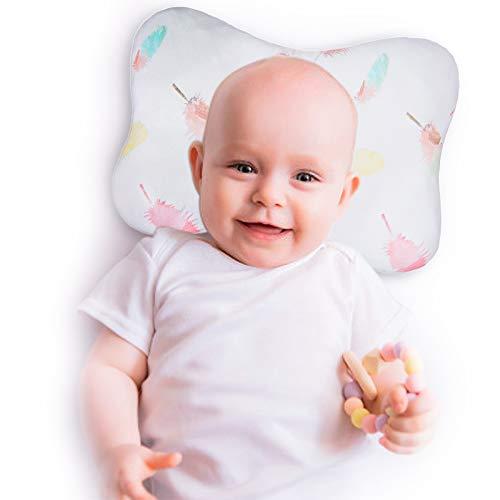 Babykissen, Anti-Exzentrisches Babykopf-Kissen, geeignet für alle Jahreszeiten, Babys und Neugeborene - Babykissen aus weicher Baumwolle (Feder)