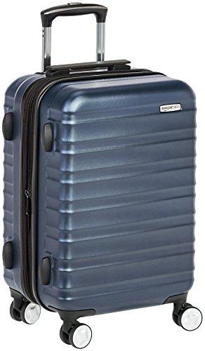 Amazon Basics - Maleta de mano rígida de alta calidad, con ruedas y cerradura TSA incorporada, 55 cm, Azul marino