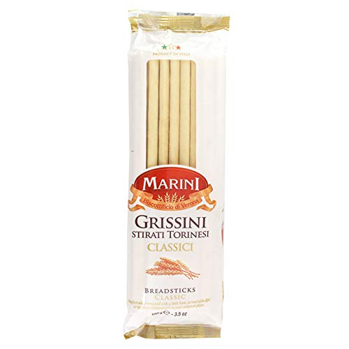 Marini Italian Classic Breadsticks - Grissini Stirati Torinesi Classici - Product of Italy