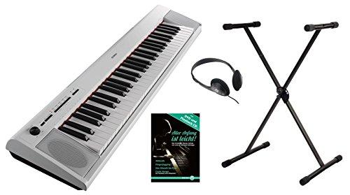 Yamaha Piaggero NP-12WH Portable Piano Set (61 anschlagdynamische Tasten, 10 Top-Sounds, Record-Funktion,inkl. Keyboardständer, Kopfhörer und Klavierschule, USB to Host, Batteriebetrieb möglich) weiss
