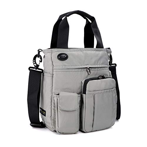 AMJ Small Shoulder Messenger Bag for Men & Women Multifunctional Crossbody Bag Business Laptop Bag for Travel/School Grey