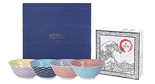 TOKYO design studio Star Wave 4-er Schalen-Set bunt, Ø 15 cm, ca. 500 ml, asiatisches Porzellan, Japanisches Design mit bunten Mustern, inkl. Geschenk-Verpackung