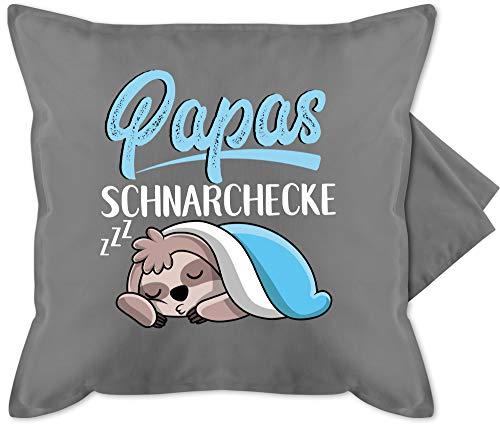 Statement Kissen - Papas Schnarchecke mit Faultier - weiß - Unisize - Grau - Papa Vatertags Kissen - GURLI Kissenhülle - Kissenbezug 50x50 cm und Dekokissen Bezug