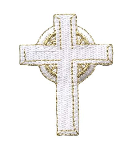 Gold and White Celtic Cross Embroidered Iron on Patch