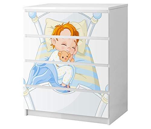 Set Möbelaufkleber für Ikea Kommode MALM 4 Fächer/Schubladen Kinderzimmer Cartoon Baby Kind Träume Kat2 süß Bett Gute Nacht ML4 Aufkleber Möbelfolie sticker (Ohne Möbel) Folie 25B2558