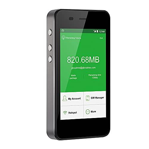 GlocalMe G3 4G LTE Mobiler WLAN Router, Keine SIM-Karte nötig, mit 1GB globalen Daten & 8GB EU Daten, Power Bank 5300 mAh Internationaler Hotspot für 144 Länder (Grey)
