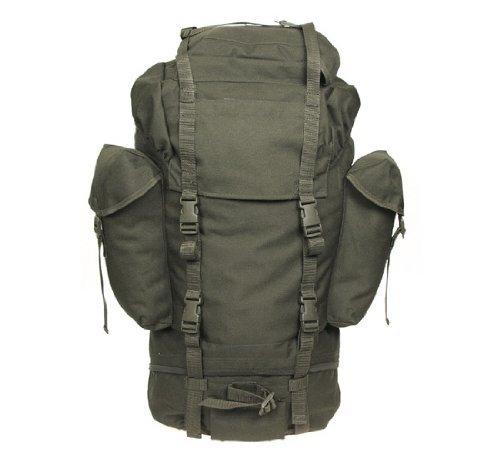 Combat Sac à dos avec 3 poches extérieures, style armée allemande, 65l.-Vert olive