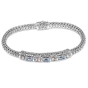 NOVICA Blue Topaz .925 Sterling Silver Chain Bracelet 7.5   Bedugul Temple