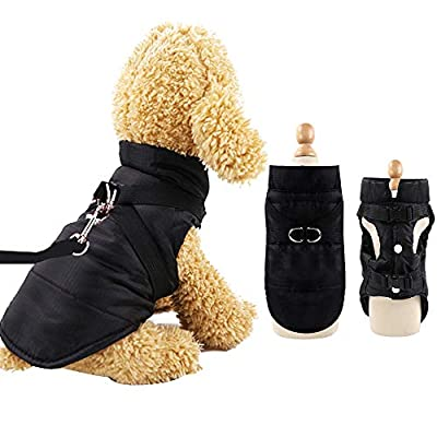 EASTLION Winter Dog Coat with D-ring,Puppy Waterproof Coats Clothes,Doggy Warm Jacket Apparel Vest for Small Dogs Pets Cats,Black,Size S