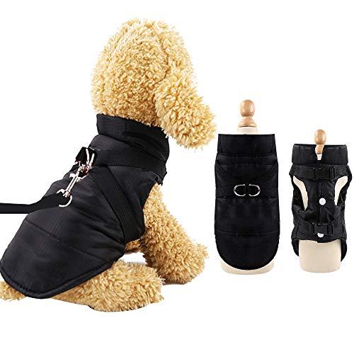 Eastlion Cappotto Giacca Invernale per Cani Taglia Piccola,Calda Cane Gatto Giubbotto Cuccioli Vestiti Piumino Felpa con Imbracatura,Nero,XL