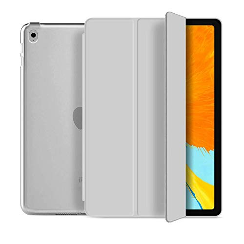 RKINC Case for iPad Air 2, PU Leather Trifold Stand Slim Fit Smart Cover [Auto Sleep/Wake] with Hard Back Case for Apple iPad Air 2 (2nd Gen 2014 Model)(A1566 A1567)(Grey)