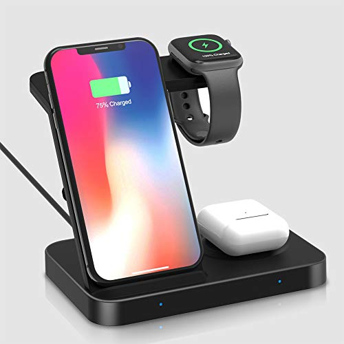 FACEVER Wireless Charger Stand, 5 in 1 Qi Fast Wireless Charging Station Dock for Apple Watch Airpods iPhone SE 2020 11 Pro Xs Max XR X Samsung Galaxy Watch Galaxy Buds(No iWatch Cable and Adapter)