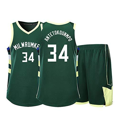 Conjunto De Camiseta De Baloncesto para Hombre, NBA Milwaukee Bucks # 34 Antetokounmpo Camiseta Deportiva Sin Mangas con Camiseta Y Pantalones Cortos,Verde,L