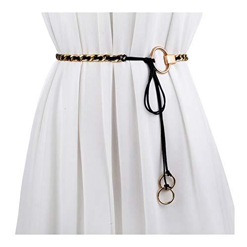 LIBILAA Mode Frauen Metall Kette Ring Anhänger Taille Kette Rock Gürtel Schwarz