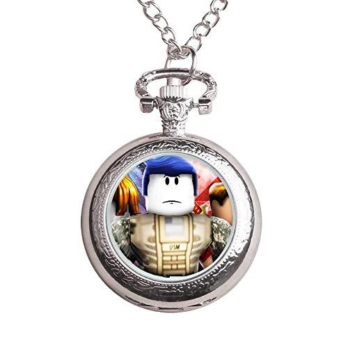 HJkjlmlFG Roblox Reloj de Bolsillo de los niños Impermeable del Reloj del Regalo del Collar del Reloj Animado Dibujos Animados Tendencia tirón for niños y niñas (Color : A04, Size : OneSize)