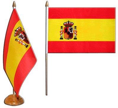 Tischflagge Tischfahne Spanien mit Wappen - 15 x 22 cm