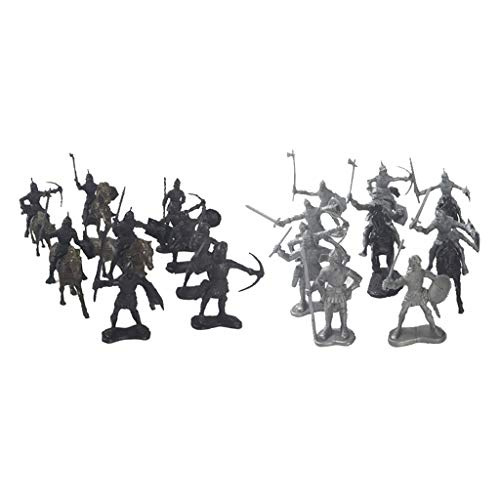 SM SunniMix Caballeros Medievales Caballos Modelo Guerreros Estático Niños Juguete Regalos