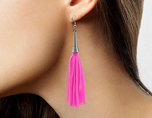 Folat Jazzy Fransen Ohrringe neonpink neon pink Schlagermove 80er Jahre JGA