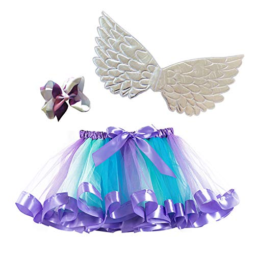 Happy Cherry Falda Tul Arco Iris Bebé Niñas Vestido Tutu Corto con Lazo Falda Princesa Layered Disfraz Fiesta con ala Plata