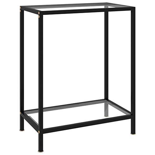 vidaXL Konsolentisch Flurtisch Konsole Beistelltisch Sideboard Wandtisch Frisiertisch Glastisch Deko Transparent 60x35x75cm Hartglas Stahl