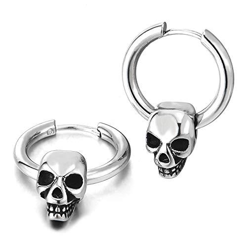 Paar Kreis Creolen Huggie Ohr Manschette Ohrringe mit Vintage Schädel Charme, Edelstahl Ohrringe für Herren Damen