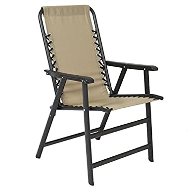 Best Choice Products Patio Lounge Suspension Folding Chair Outdoor Sport Beige