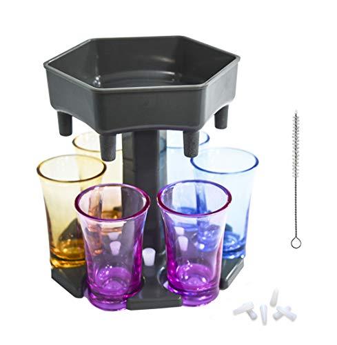Dispensador de vasos de chupito de 6 formas, dispensador de chupito de barra, dispensador de licor para llenar líquidos, juegos de beber, fiesta de cóctel, con vasos de colores, enchufes (gris)