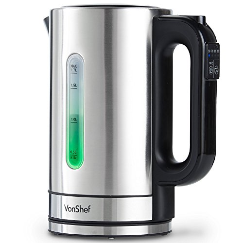 VonShef Electric Kettle with Variable Temperature Control – 5 Different Temperature Settings – Cordless, Stainless Steel, 1.7L, 3000W