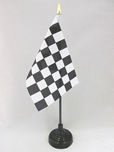 AZ FLAG TISCHFLAGGE ZIELFLAGGE SCHWARZES UND WEISSES 15x10cm goldene splitze - SCHWARZ-Weisse RENNFLAGGE TISCHFAHNE 10 x 15 cm - flaggen