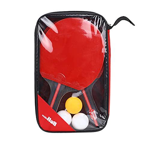 Jabroyee Juego de 2 raquetas de ping pong, 3 bolas con hoja de 7 capas, 2 mm, mango acampanado de madera, zócalo de ping-pong