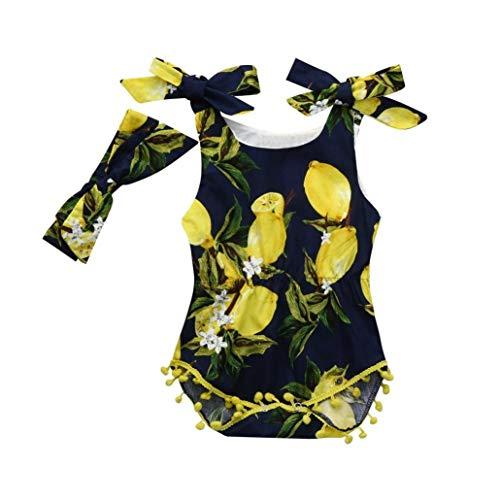 LENGIMA Neugeborene Kleinkind Baby Mädchen Zitrone Quaste Ruffle Bodysuit Strap Strampler Sommerkleidung (Color : Navy, Size : 0-6 Months)