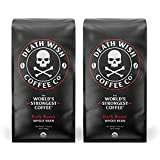 DEATH WISH COFFEE Whole Bean Coffee [16 oz.] The World's Strongest Coffee, USDA Certified Organic, Fair Trade, Arabica and Robusta Beans (2-Pack)