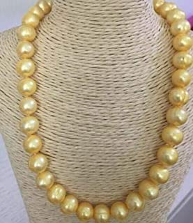Davitu Noble Jewelry Baroque 11-12mm Natural Golden South seas Pearl Necklace - (Main Stone Color: Black, Length: 45cm)