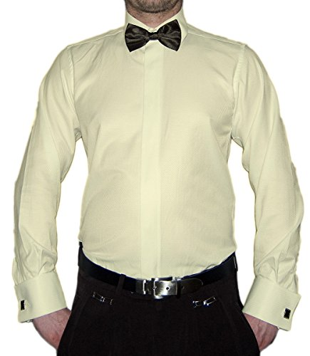Paco Romano Paco Romano Slim Fit Smoking Hemd Beige Struktur Schwarze Fliege New Kent Kragen Langarm Größe S 38