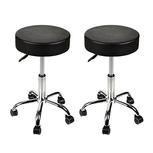 Home Office Adjustable Rolling Medical Massage Swivel Stool Chair Tattoo Facial Massage Salon Stools, Black, Set of 2