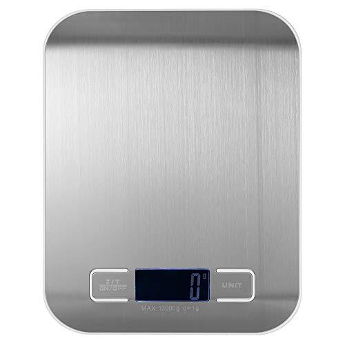 esonmus Bilancia da Cucina Smart Digitale con Funzione Tare,10kg/22 lbs Professionale Acciaio Inox Alta Precision Bilancia Elettronica per la Casa e la Cucina,Bianco