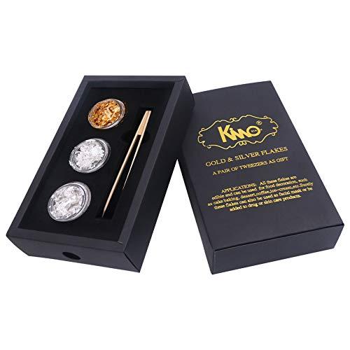 KINNO 24K Edible Gold Leaf Foil Sheets Flakes - Genuine Silver Leaf Foil Flakes-Tweezers Set for for Makeup, Spa, Crafts, Gilding, Art, Bakery and Drink, Cake Baking (2 Pure Sliver + 1 Gold)