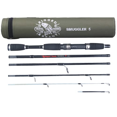 Rigged & Ready Smuggler 5, Travel Rod. 5 Piece, 160cm, 5.25 ft, high Performance, Powerful, Nano Carbon Rod with Unbreakable tip, Travelling Fishing Rod and Tube.