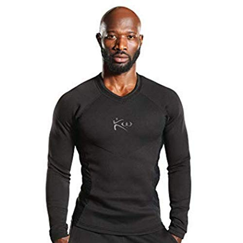 Kutting Weight Men's Neoprene Weight Loss Sauna Shirt Long Sleeve (Black on Black, 2XL)