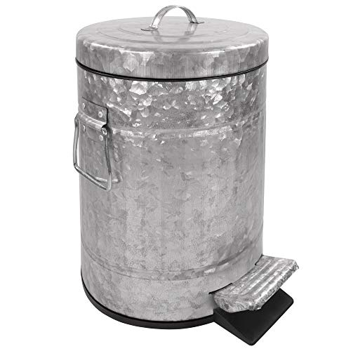 Autumn Alley Galvanized Bathroom Trash Can with Lid | Small 5L, 1.3 Gallon Bathroom Garbage Can | Adds Charm to Your Farmhouse Bathroom | Rustic Bathroom Accessories