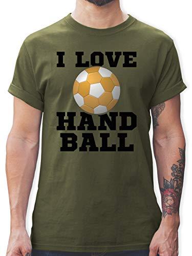 Handball - I Love Handball Schwarz - S - Army Grün - Kurzarm - L190 - Tshirt Herren und Männer T-Shirts