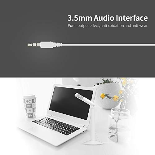 Negaor 3.5mm Desktop Microphone Portable Capacitor Microphone Conference Video Chat Recording Microphone for PC Laptop White