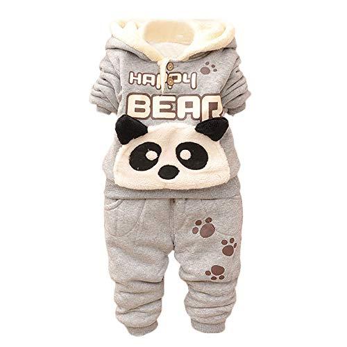 Kobay Baby Kinder Jungen Set Kleidung Langarm Karikatur Panda Top + Hosen(18-24M,Grau)