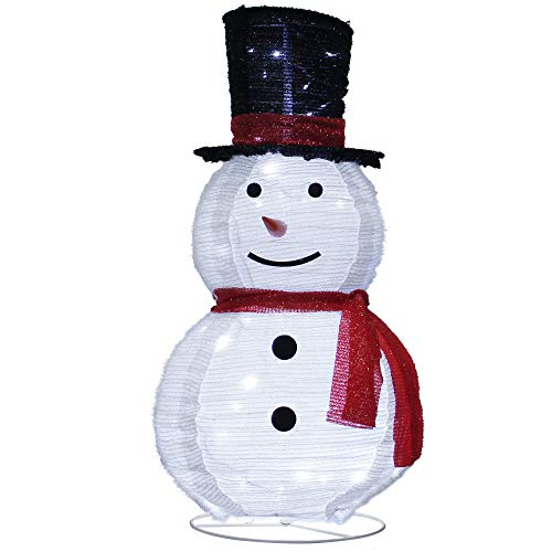 ATDAWN 3ft Pre-Lit Light Up Snowman with Black Top Hat, Christmas Collapsible Snowman Outdoor Decoration, 60 LED Outdoor Lighted Snowman Christmas Yard Decorations