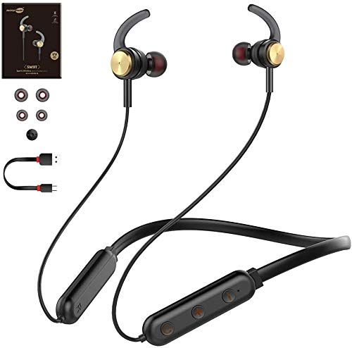 Baseman Bluetooth Headphones with Microphone Wireless Sport Earphones Workout Earbuds for Gym Running 20 Hours Play Time IPX6 Waterproof Sports in Ear Headphones for Computer Laptop Music