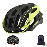 Cairbull - Casco de ciclismo para hombre y mujer (54-61 cm) con 29 rejillas de ventilación, ligero casco de bicicleta con lámpara LED, Unisex adulto, Negro y verde.