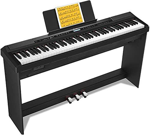 Donner Professionale Pianoforte Digitale 88 Tasti Pesati, Scaled Hammer Action, Tastiera Elettrica per Principianti con Supporto per Pianoforte Rimovibile e Triplo Pedale, DEP-20S