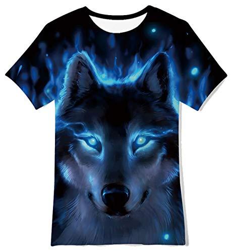 Funnycokid Jungen Mädchen Kinder T-Shirt Sommer Kurzarm Wolf Grafik Cool Top T-Shirt Chirldren T-Shirt Alter 10-12