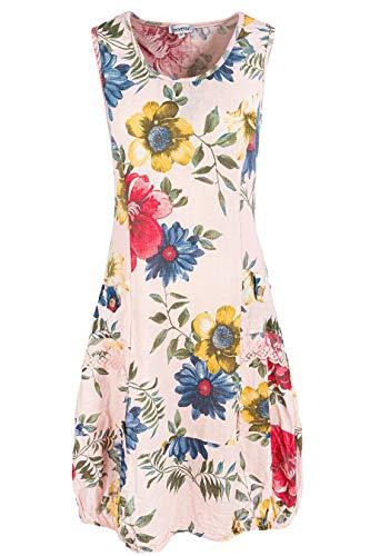 PEKIVESSA Damen Leinenkleid mit Blumen Sommerkleid Knielang Altrosa 38 (Herstellergröße M)